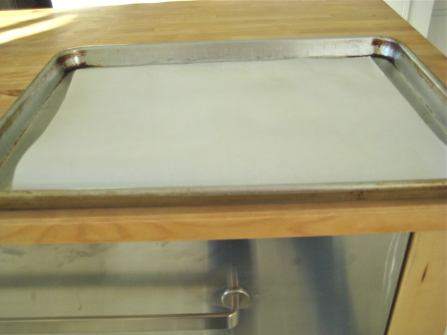 Parchment paper on a cookie sheet